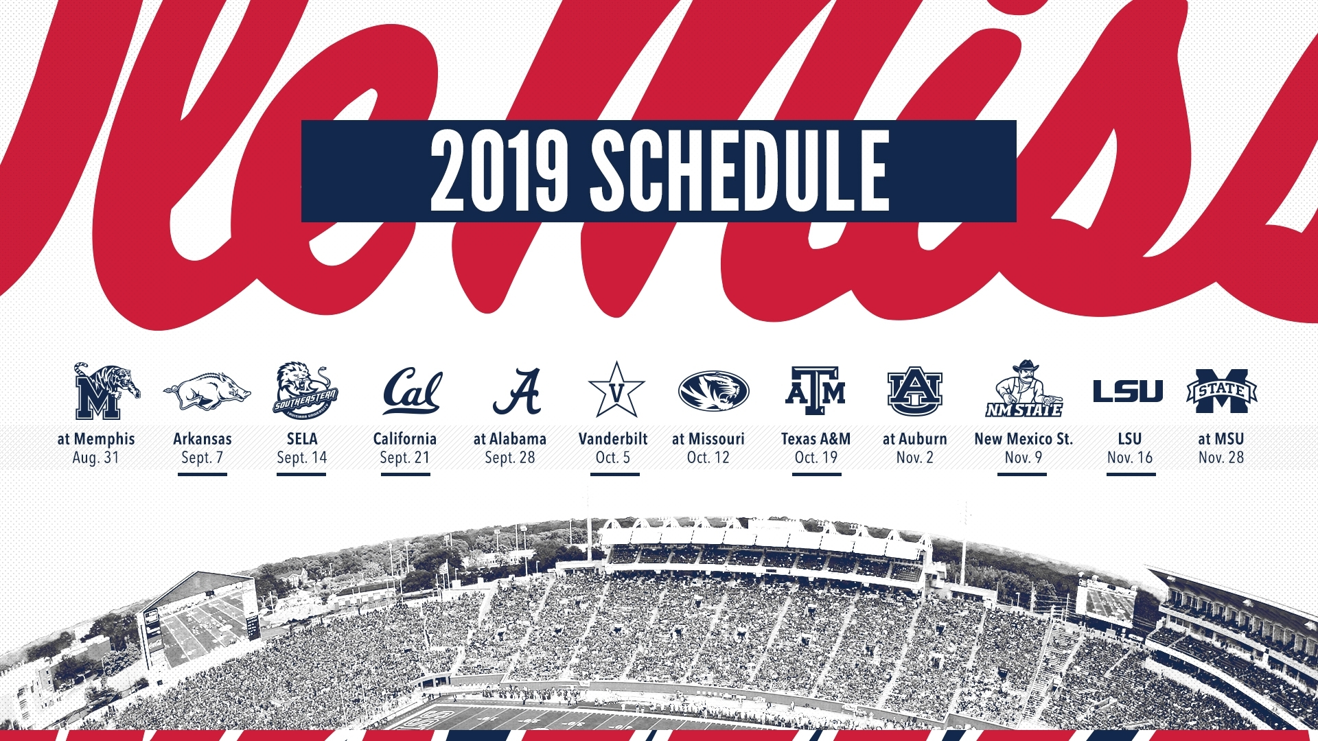 Football Releases 2019 Schedule - Ole Miss Athletics