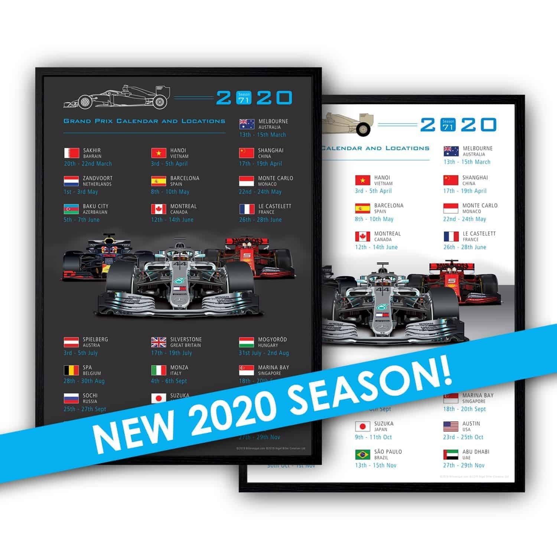 Formula 1 2020 Season Poster Calendar