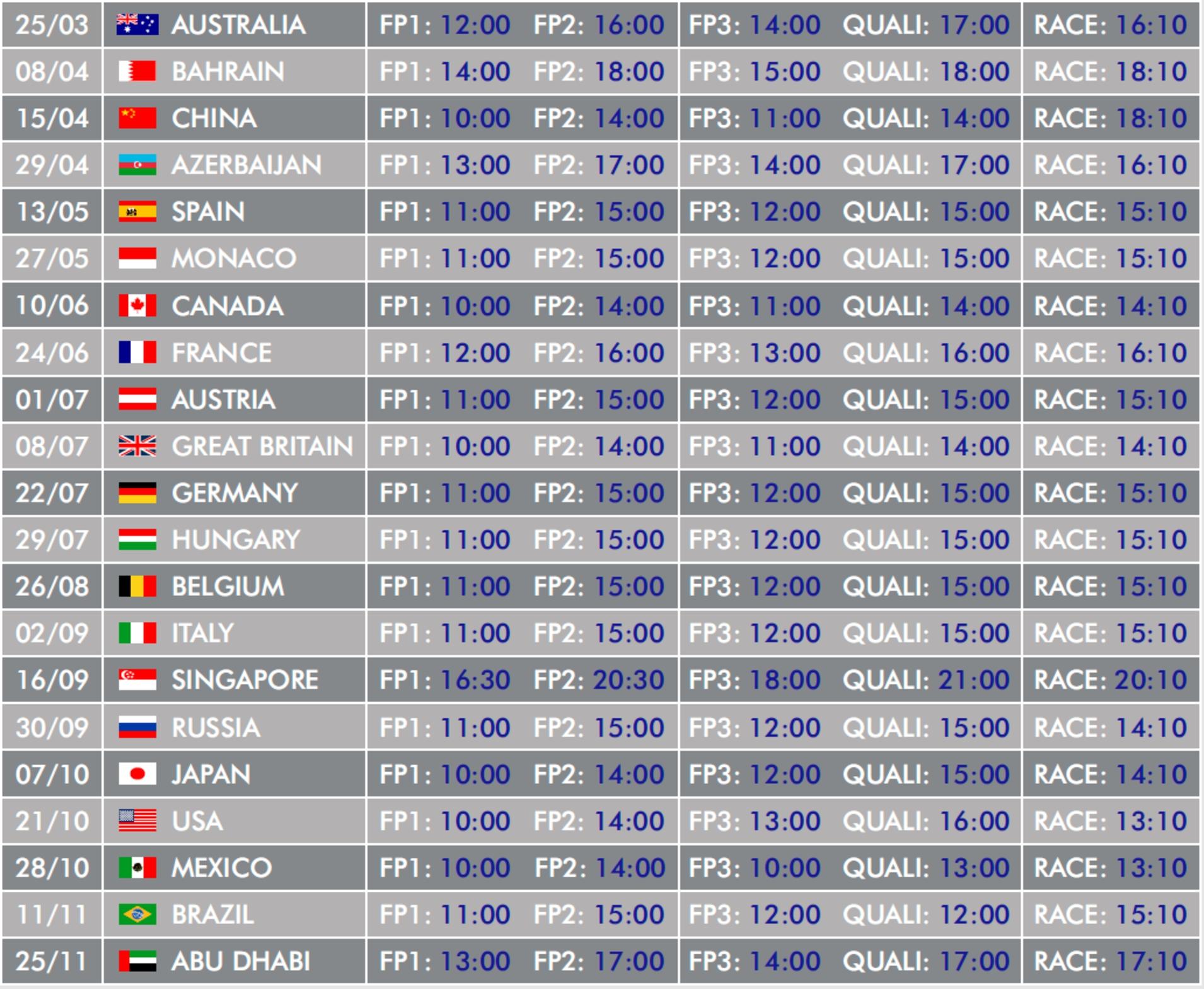 Formula 1 Calendar. F1 2020 Calendar. 2019-08-16