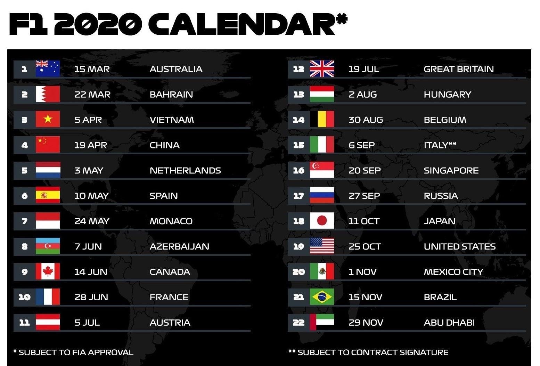 Formula 1 Confirms Record 22-Race Calendar For 2020