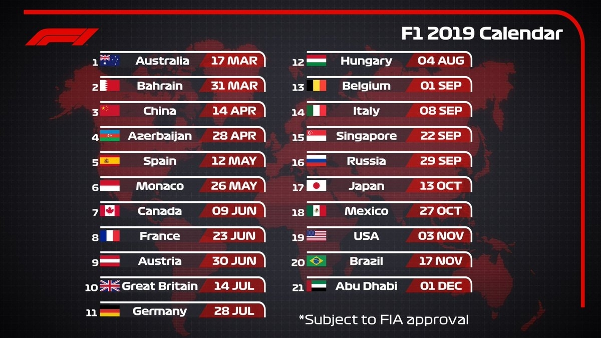 """Formula 1 On Twitter: """"icymi: The 2019 Provisional #f1"""