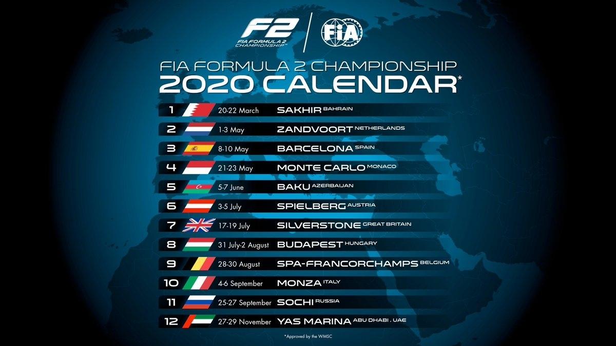 "Formula 2 On Twitter: ""🚨 2020 Calendar 🚨 Save The Dates"