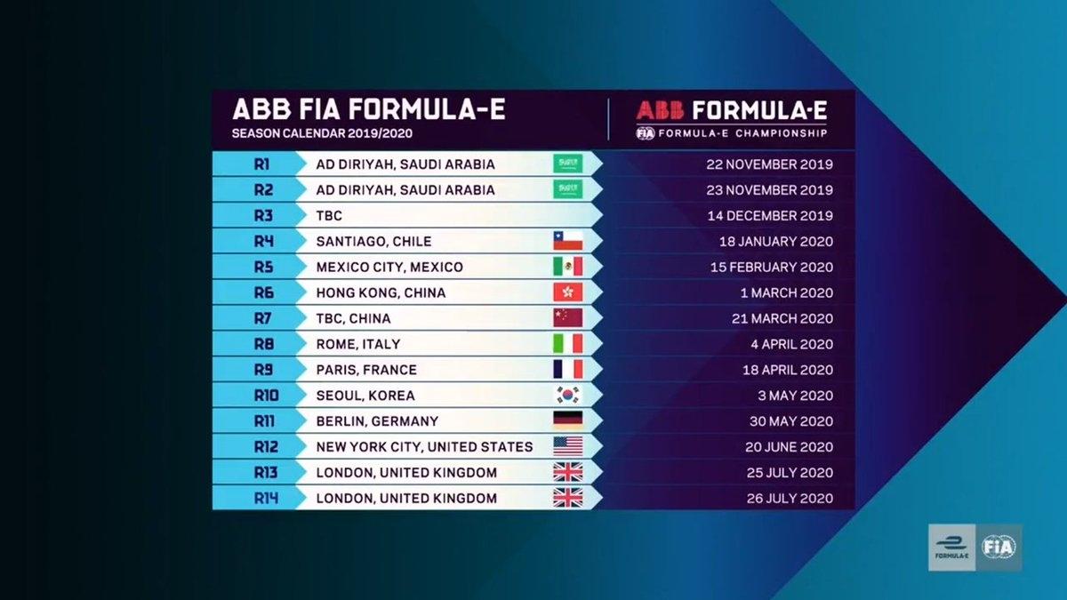 Formula E 2019 Calendar
