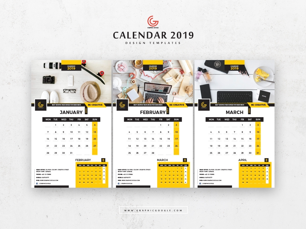 Free 13 Pages 2019 Calendar Design Templates January