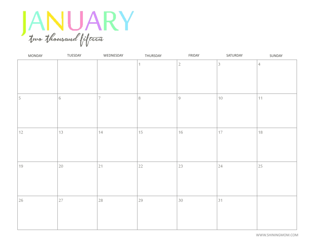 Free 2015 Printable Calendarshiningmom: Fun And