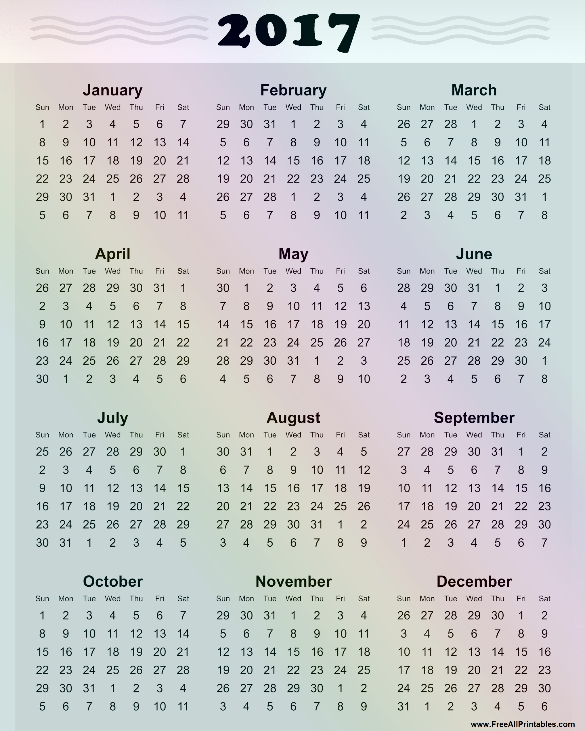 Free 2017 Calendar Pdf | Galaxy S Calendar Us Holidays 2017