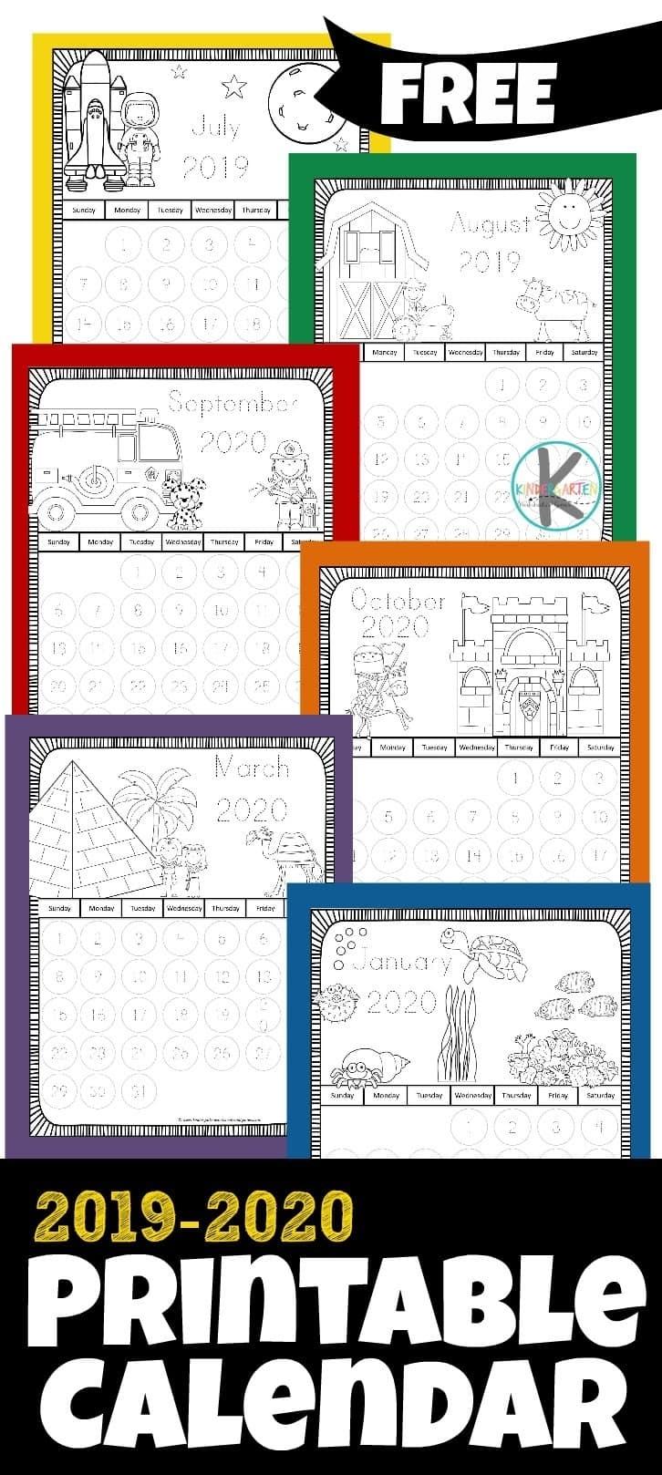 Free 2019-2020 Printable Calendar To Color – Kindergarten