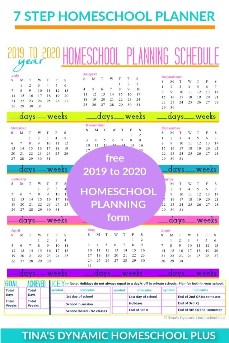 Free 2019-2020 Year Round Homeschool Planning Form (Color