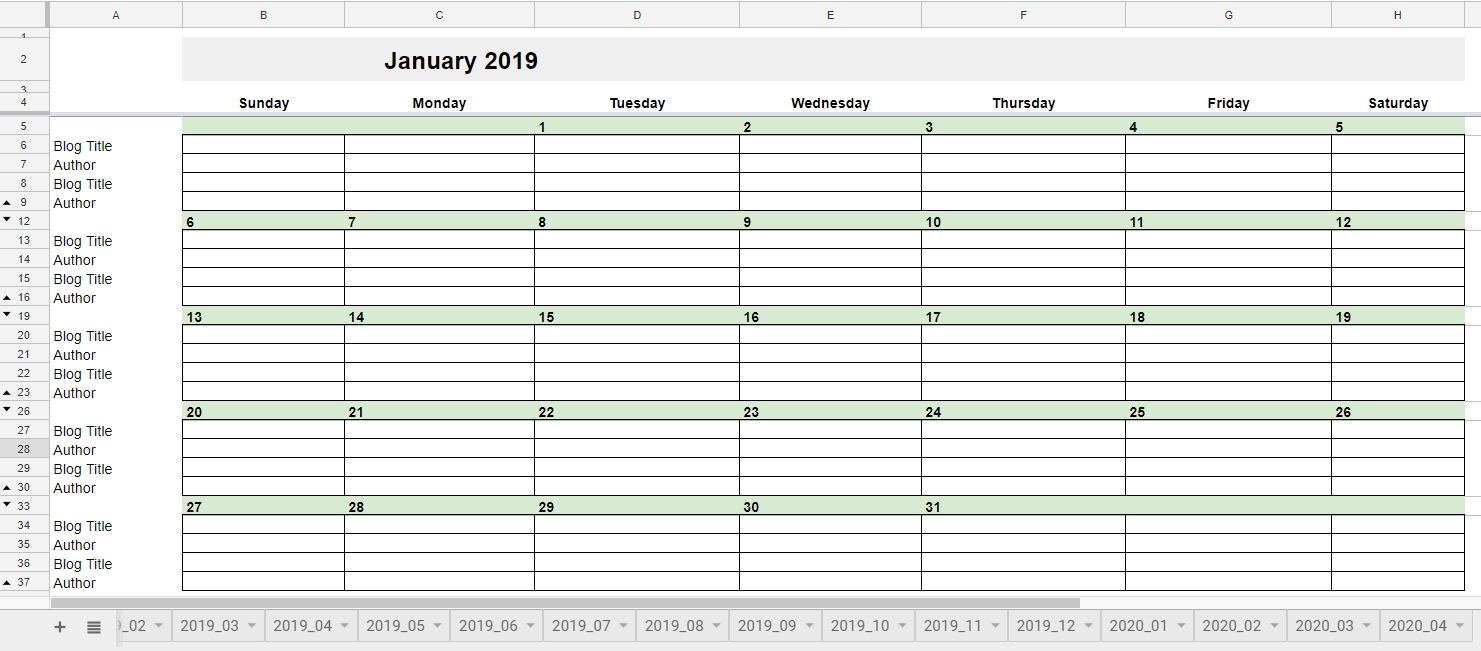 Free 2019 Editorial Calendar In Google Sheets | Young Adult