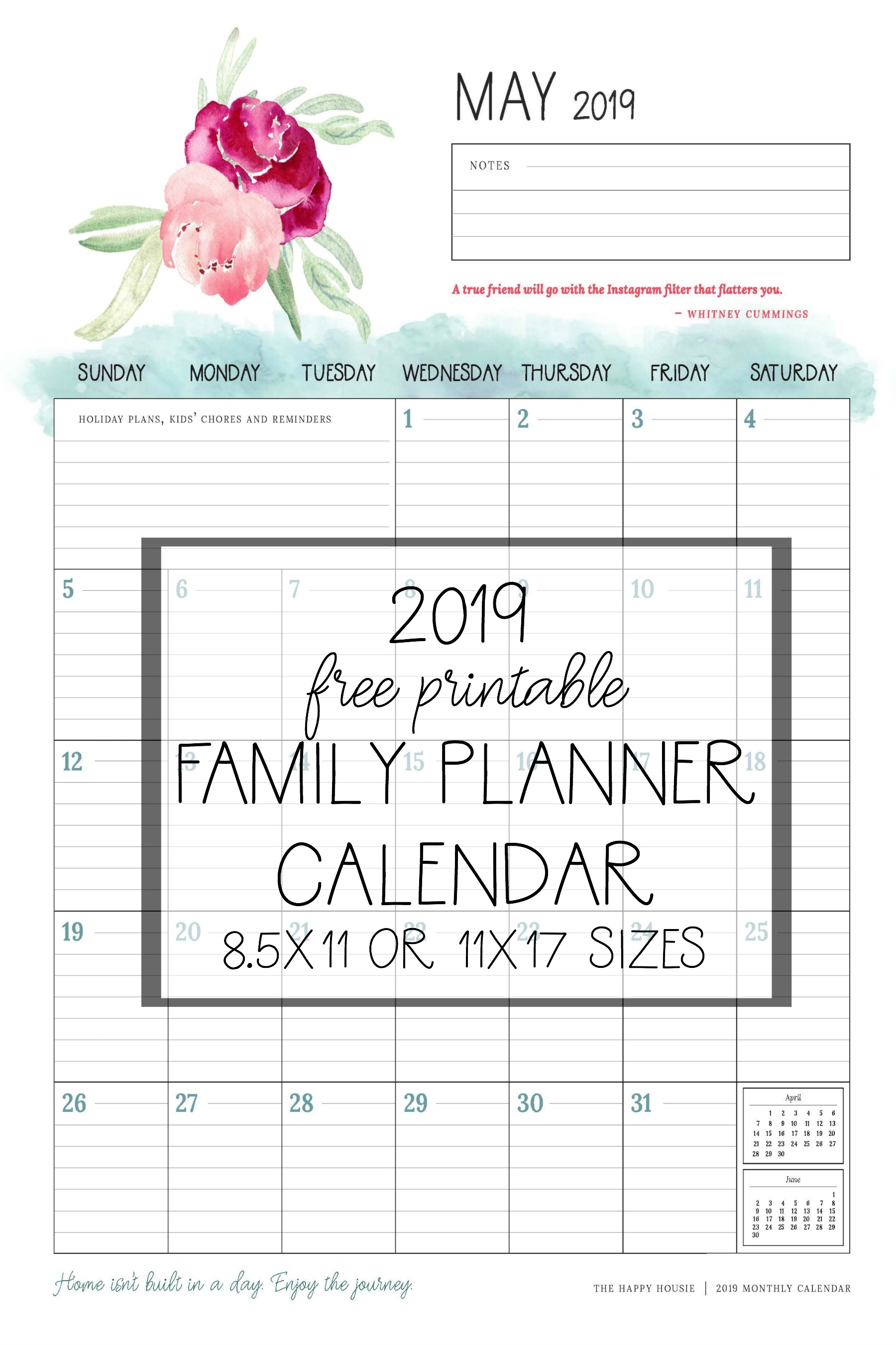 Free 2019 Printable Calendar Family Planner Organizer | The