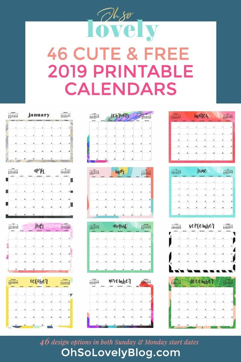 Free 2019 Printable Calendars - 46 Designs To Choose From