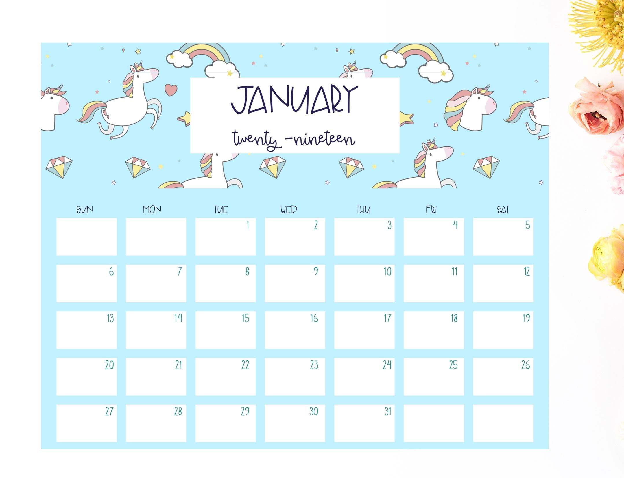 Free 2019 Unicorn Calendar - Shabby Mint Chic Party