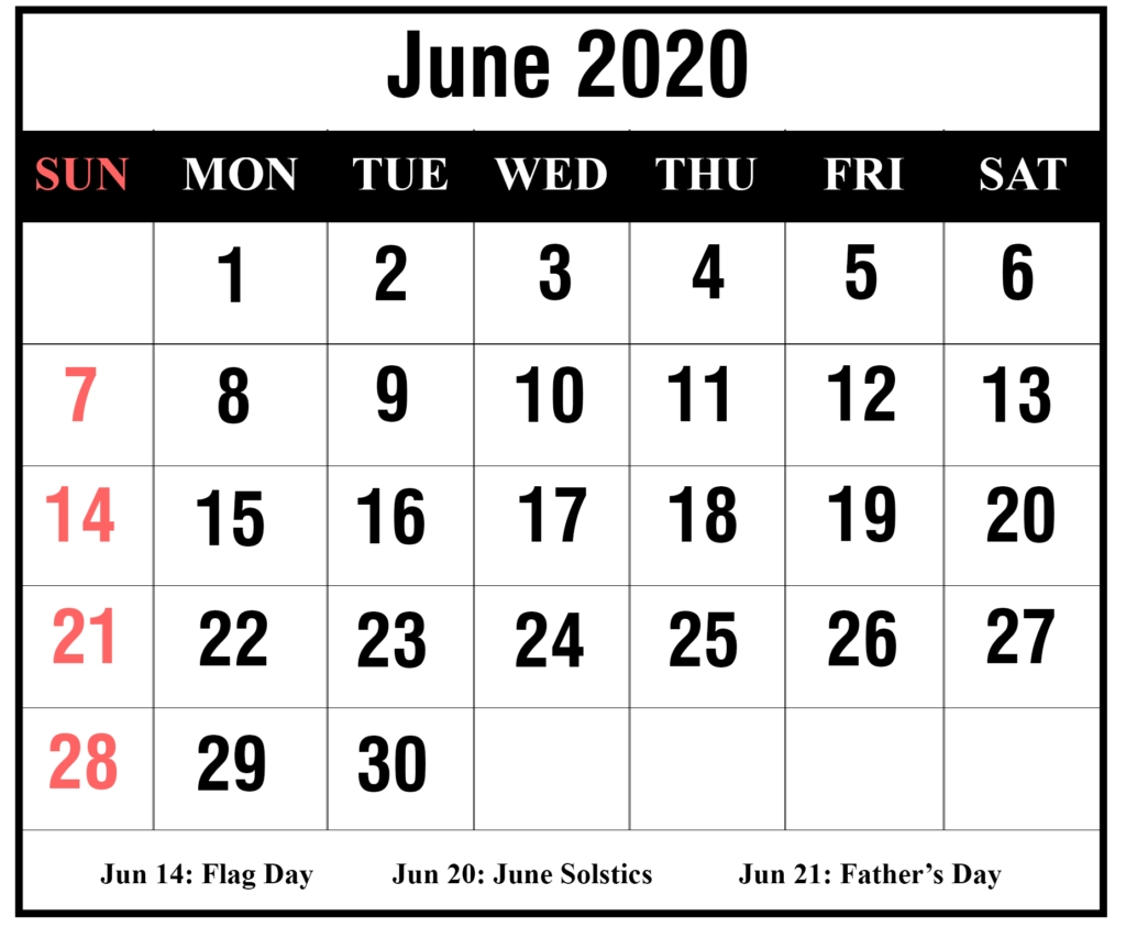 Free 2020 June Printable Calendar Templates [Pdf, Excel