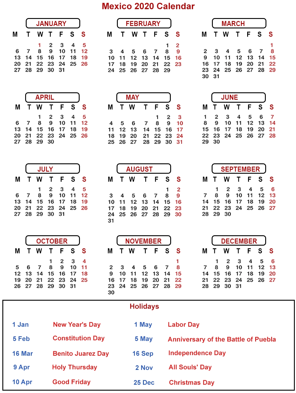 Free 2020 Mexico Printable Calendar With Public Holidays