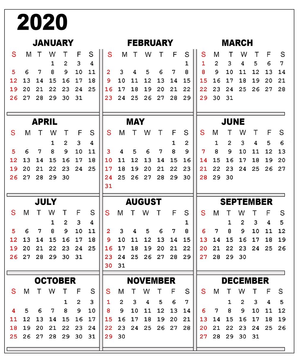 Free 2020 One Page Calendar Printable Templates   Printable