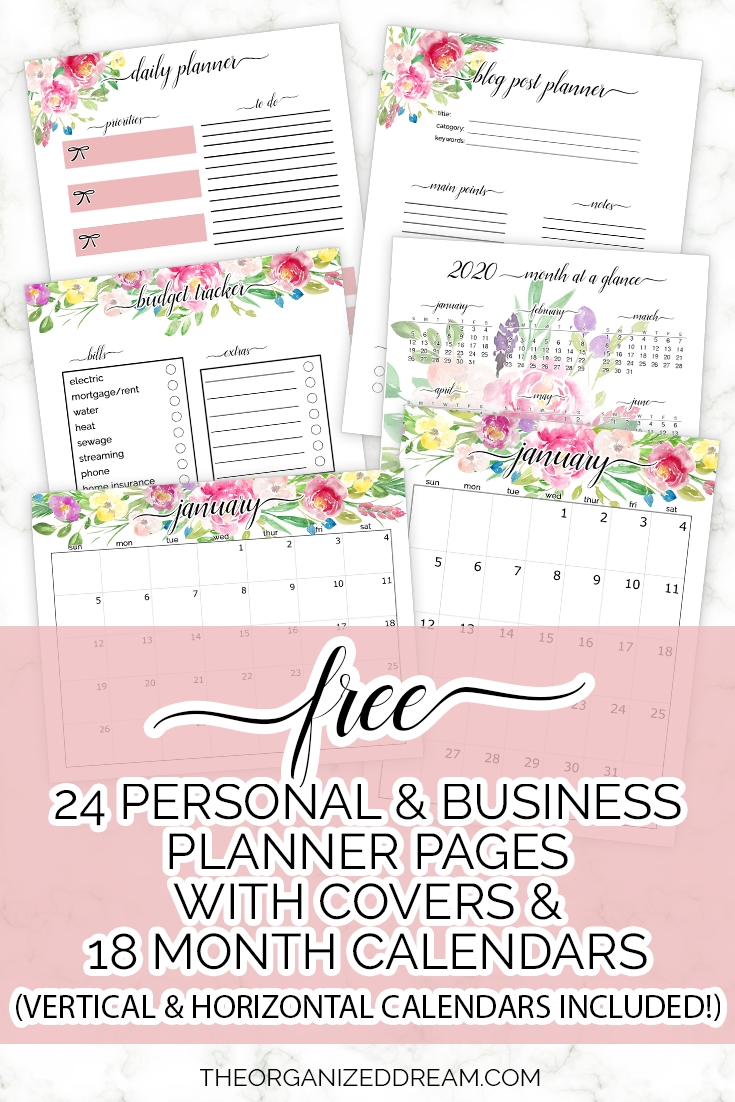 Free 2020 Planner Pages With 18 Month Calendars - The