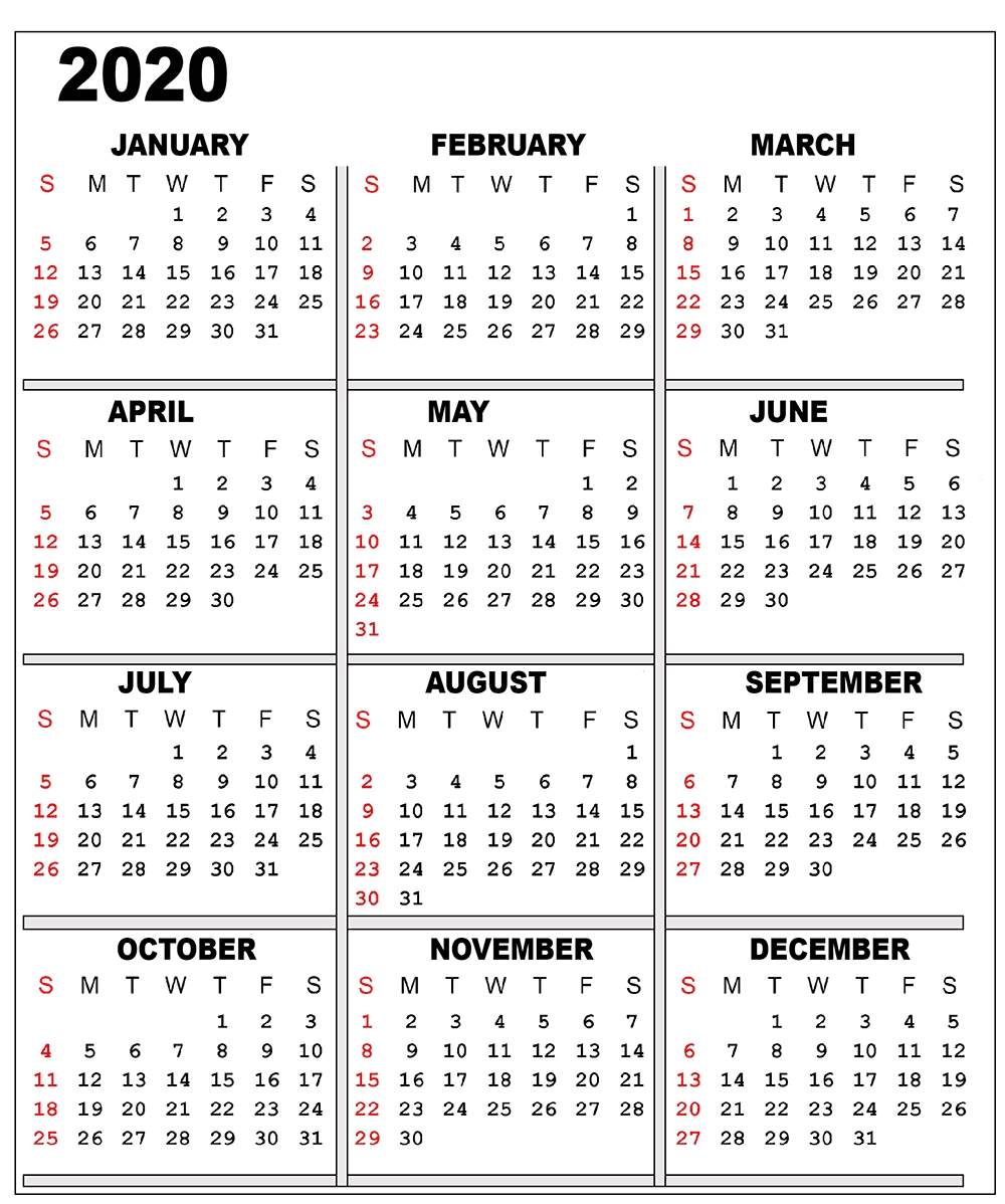 Free 2020 Printable Calendar Templates | Editable Calendars 2020