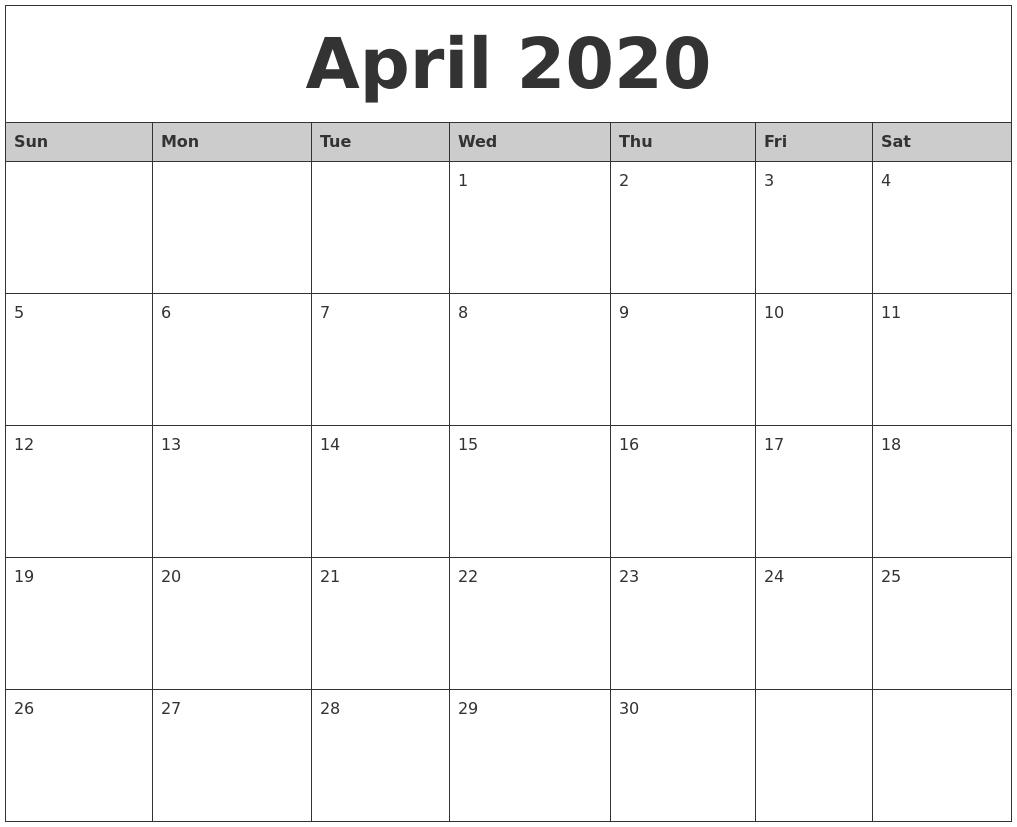 Free 25+ Unique Blank Calendar April 2020 Fillable Editable