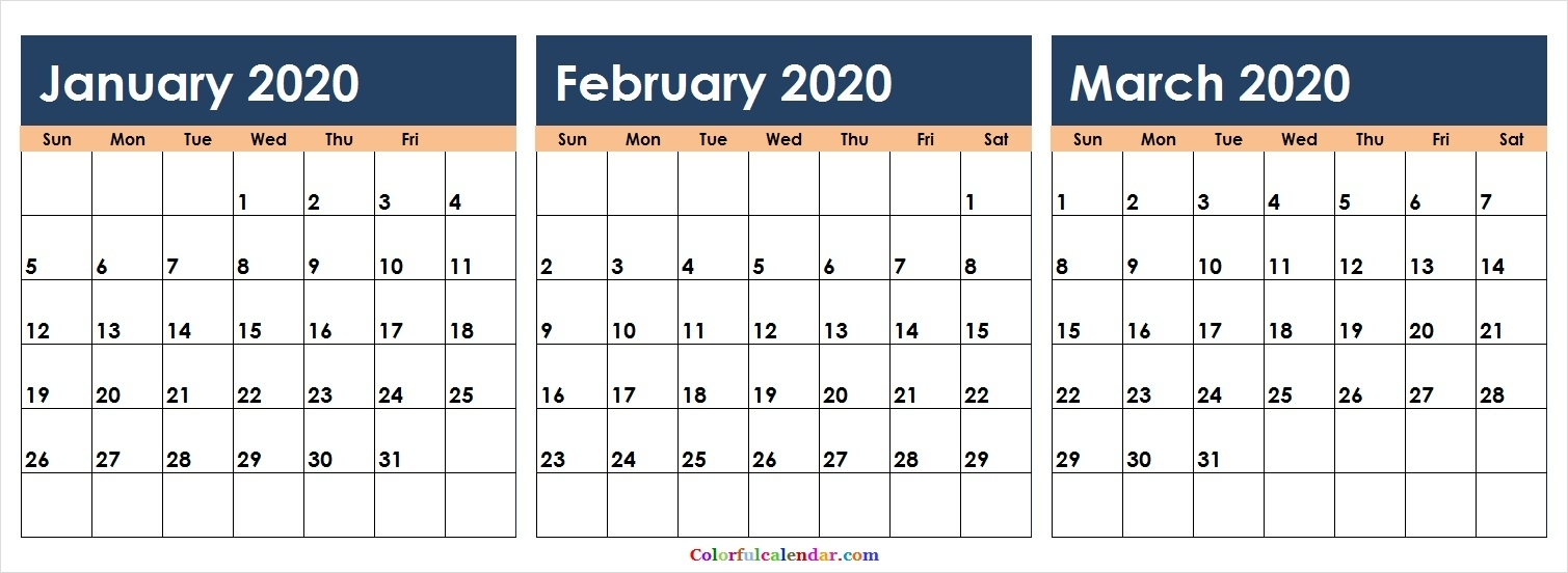 Free 3 Months January February March 2020 Calendar Colorful