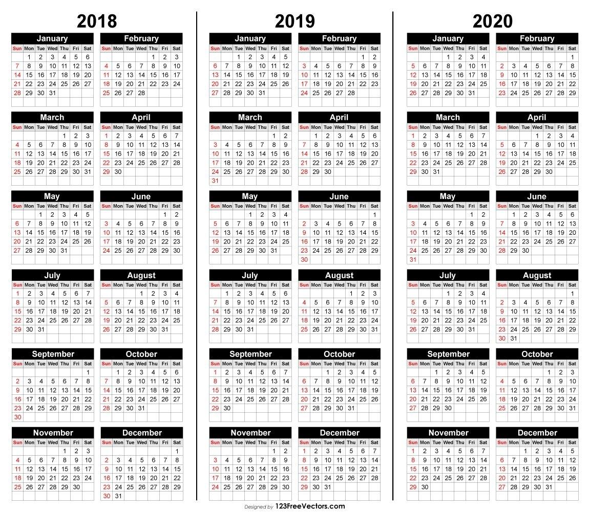 Free 3 Year Calendar 2018 2019 2020 | Calender Template