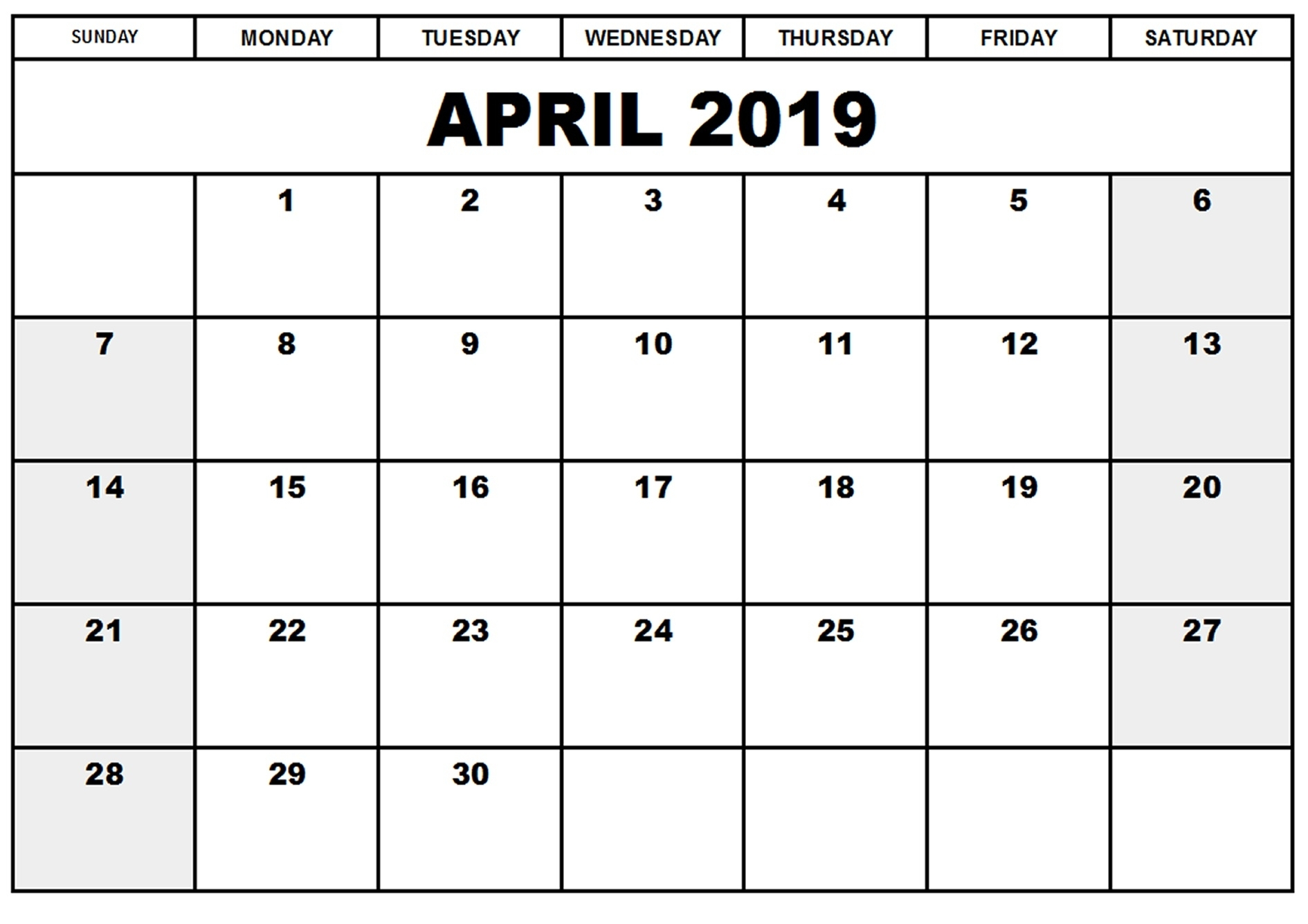 Free April 2019 Calendar Printable Blank Templates - Pdf
