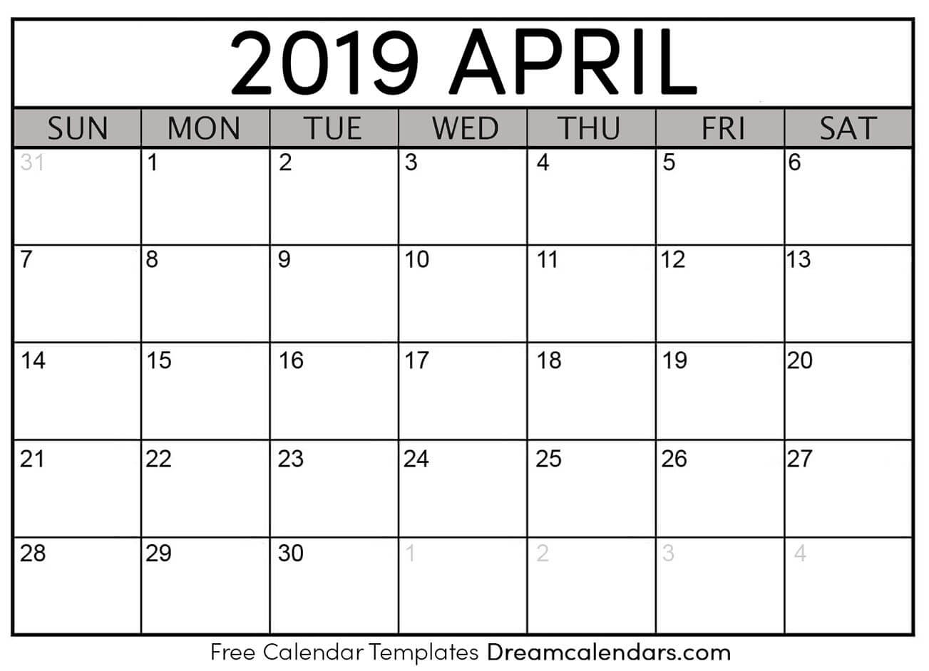 Free April 2019 Printable Calendar | Dream Calendars