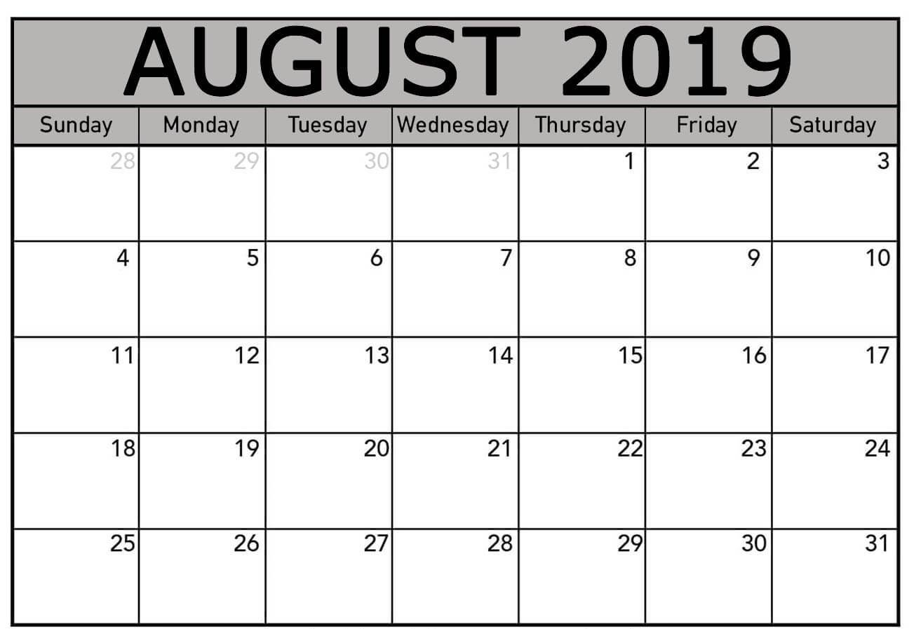 Free August 2019 Calendar Template Editable Printable Download