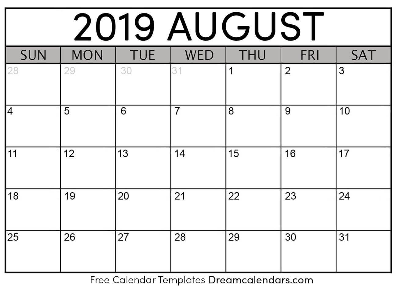 Free August 2019 Printable Calendar | Dream Calendars