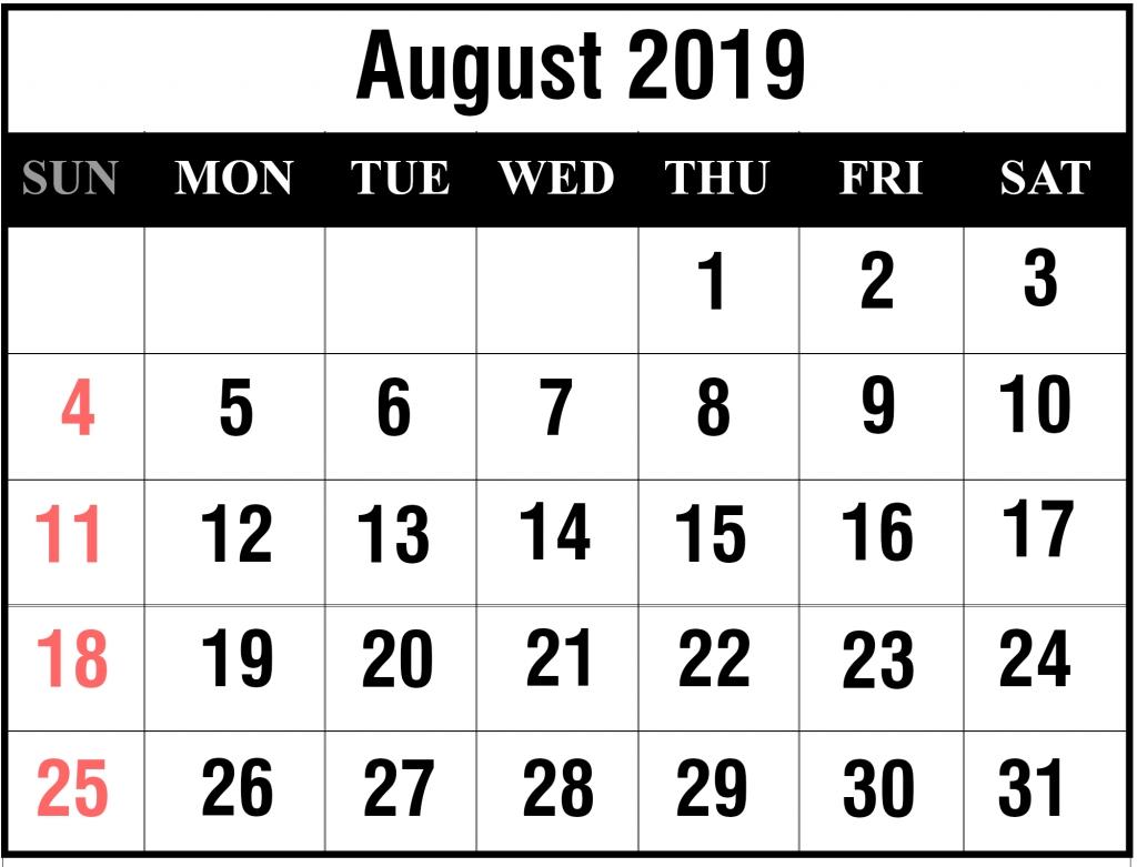 Free August 2019 Printable Calendar Template {Pdf, Excel