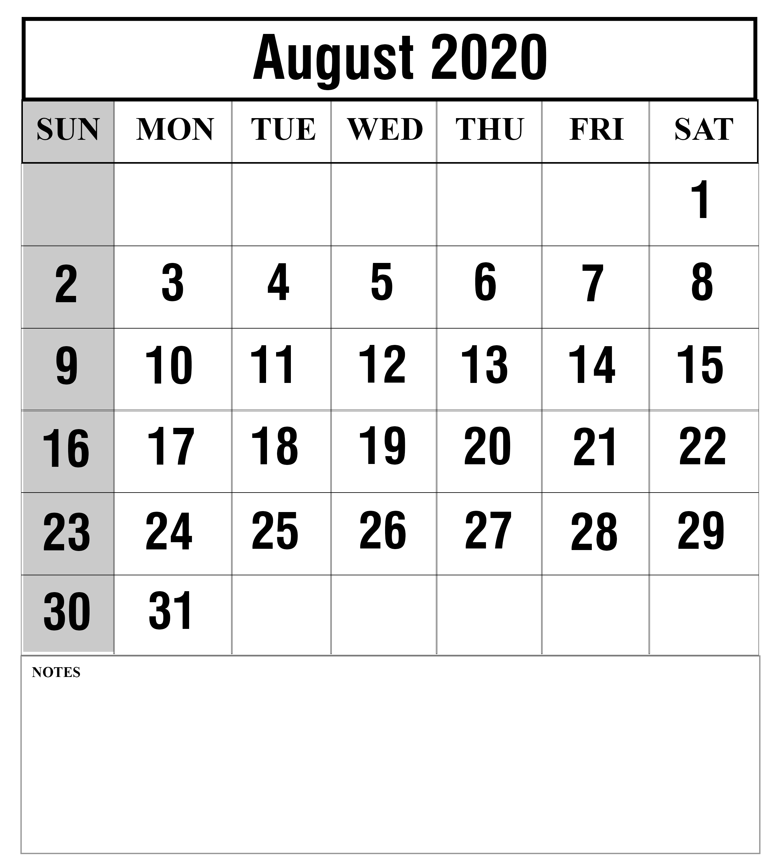 Free August 2020 Calendar Printable Template With Holidays