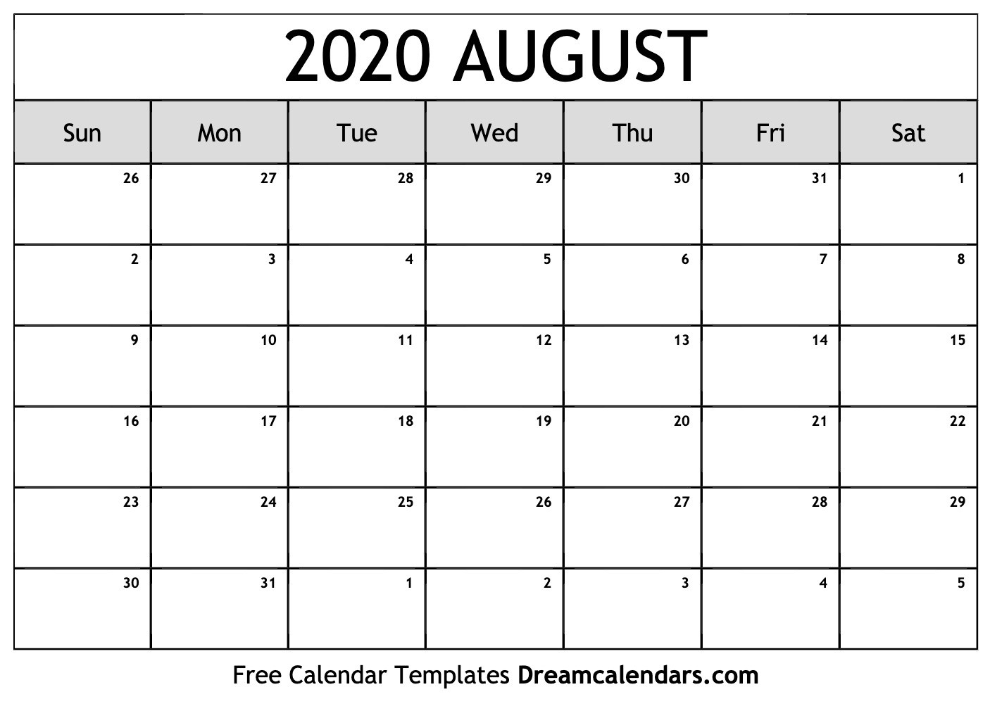 Free August 2020 Printable Calendar | Dream Calendars
