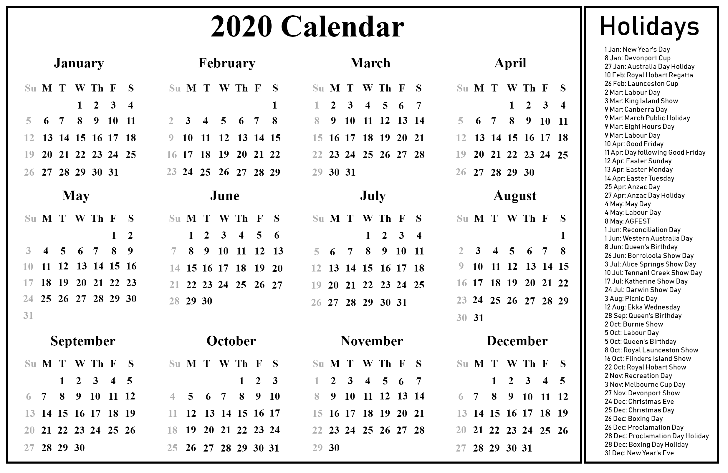Free Blank Australia Calendar 2020 In Pdf, Excel & Word