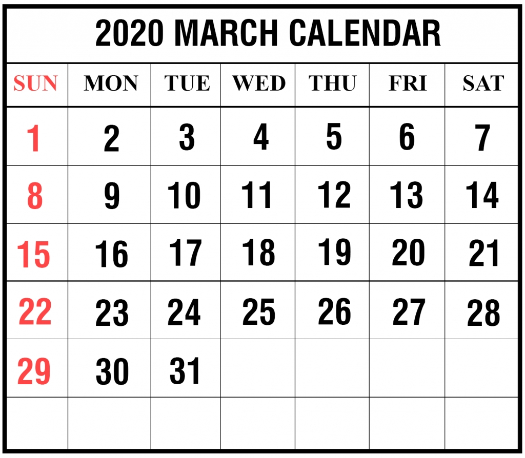 Free Blank March 2020 Calendar Printable In Pdf, Word, Excel
