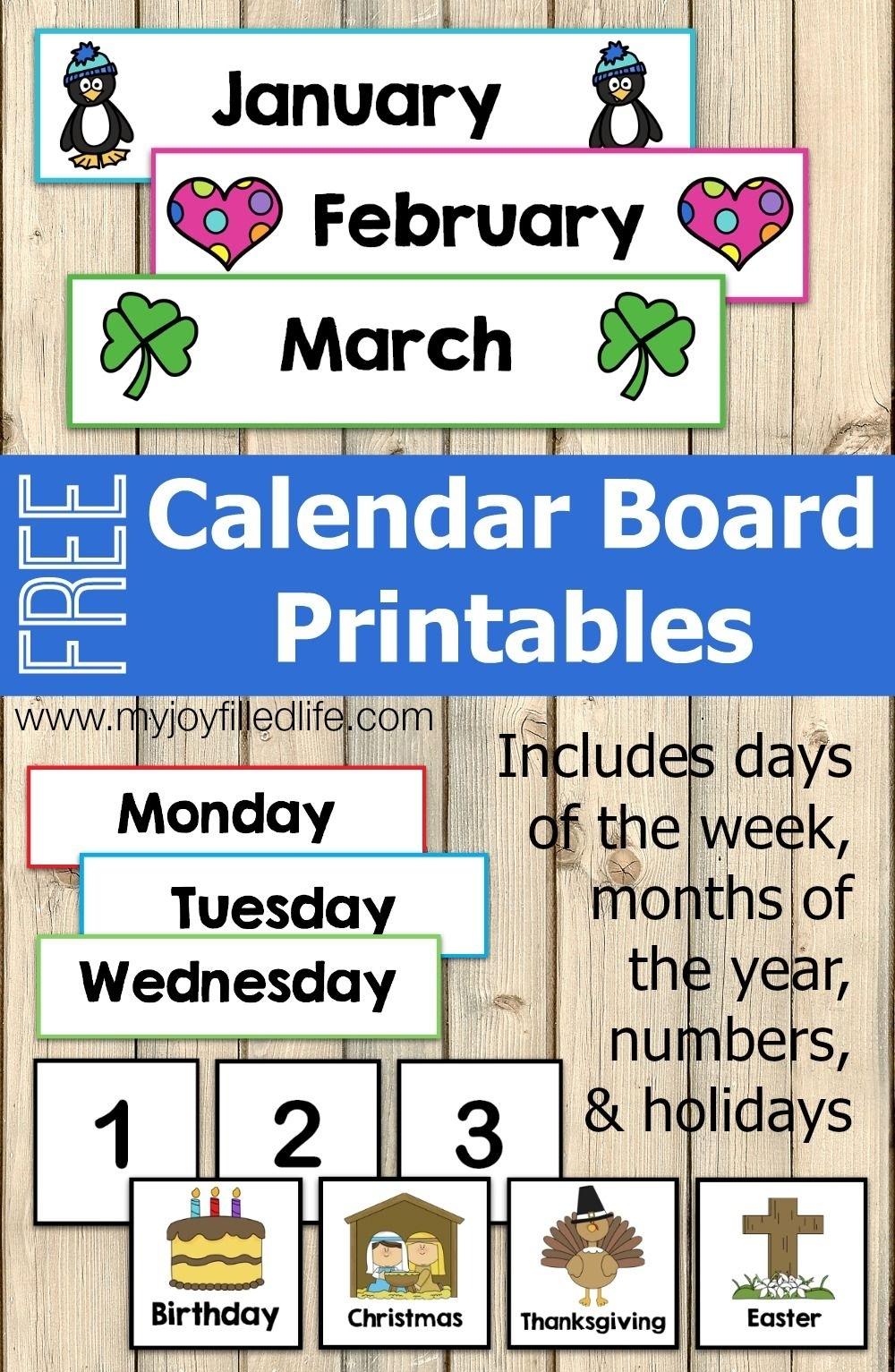 Free Calendar Board Printables   Preschool Calendar