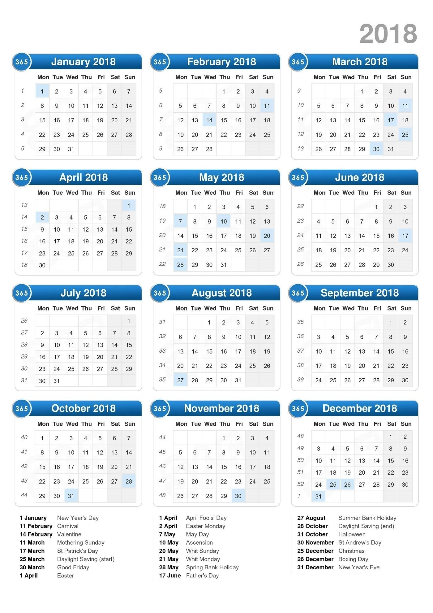 Free Calendars 2018 Printable | Print Calendar, Printable