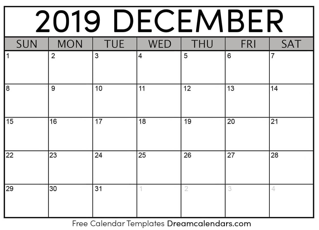 Free December 2019 Printable Calendar | Dream Calendars