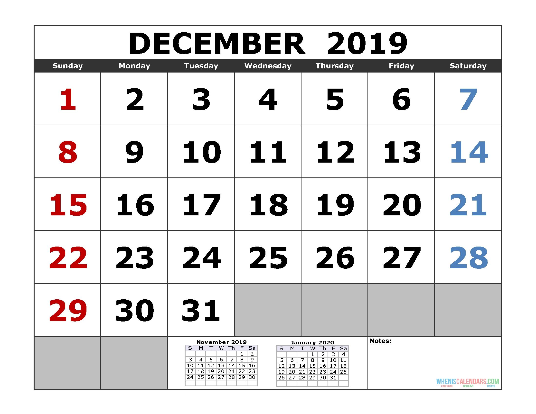 Free December 2019 Printable Calendar Templates [Us. Edition