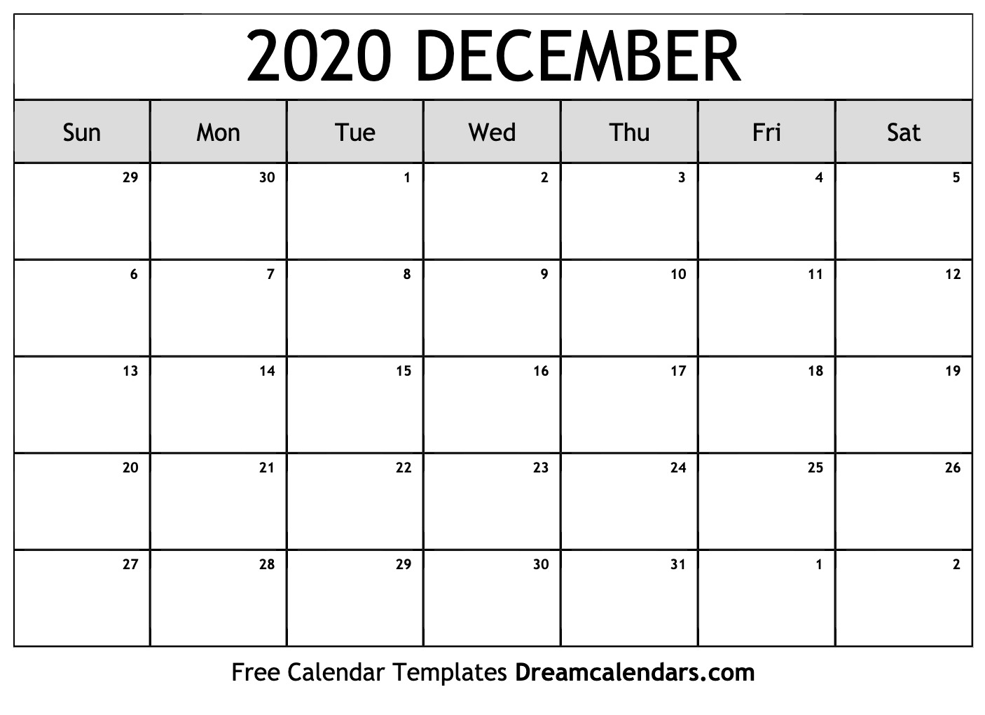 Free December 2020 Printable Calendar | Dream Calendars