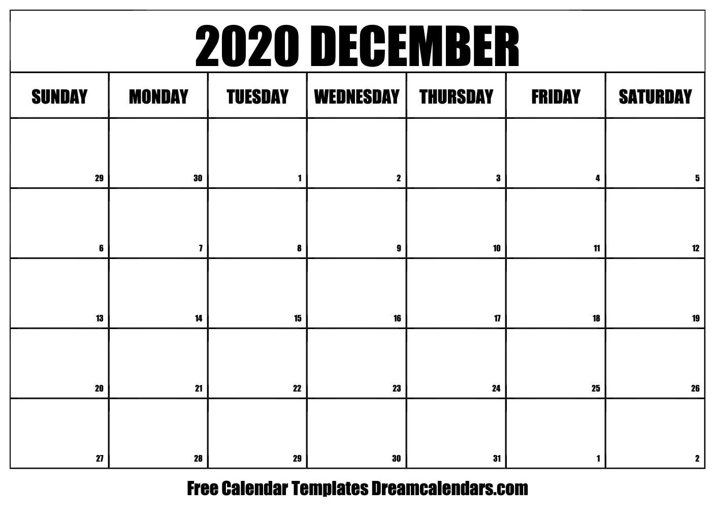 Free December 2020 Printable Calendar | Dream Calendars