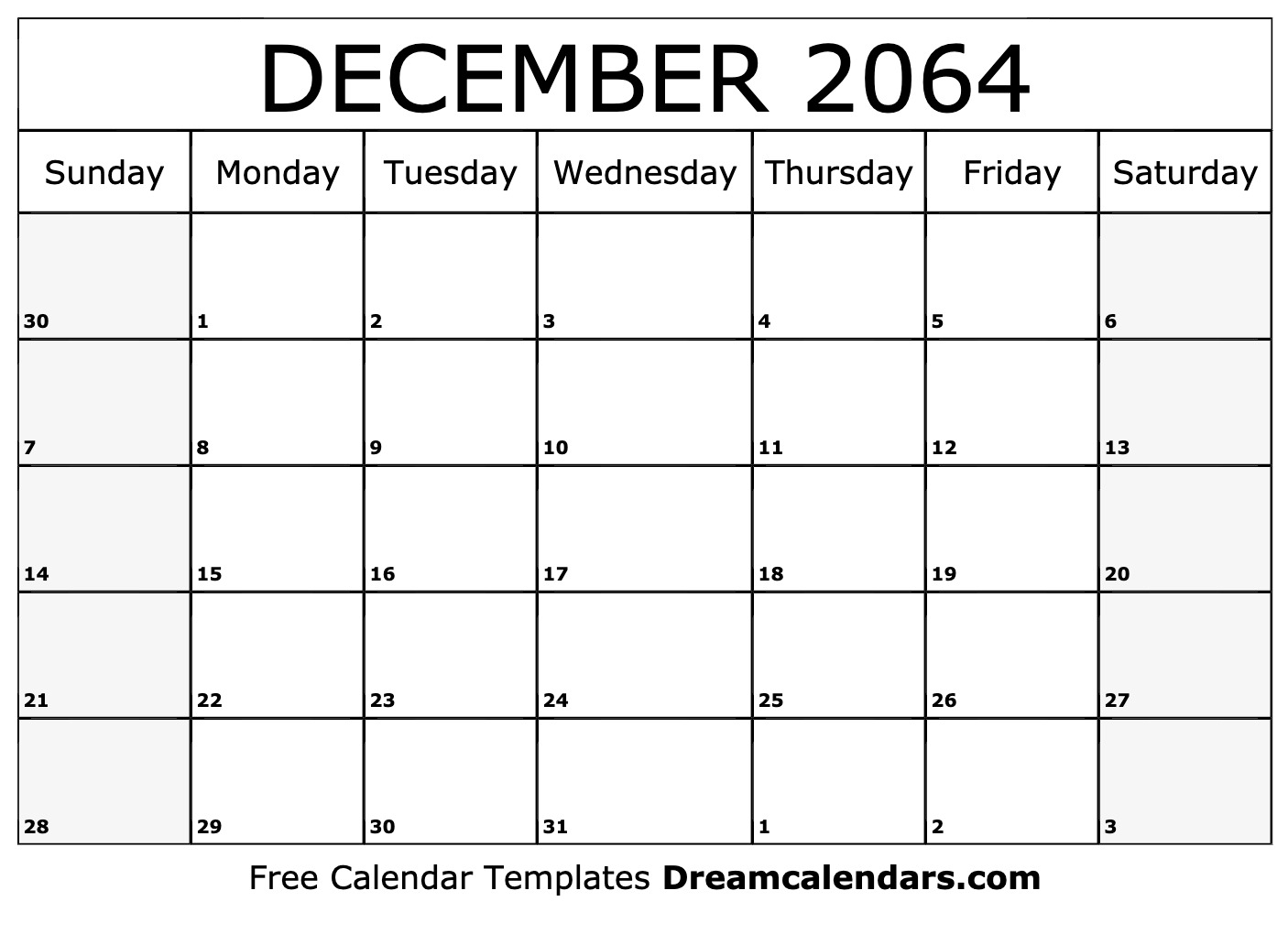 Free December 2064 Printable Calendar | Dream Calendars
