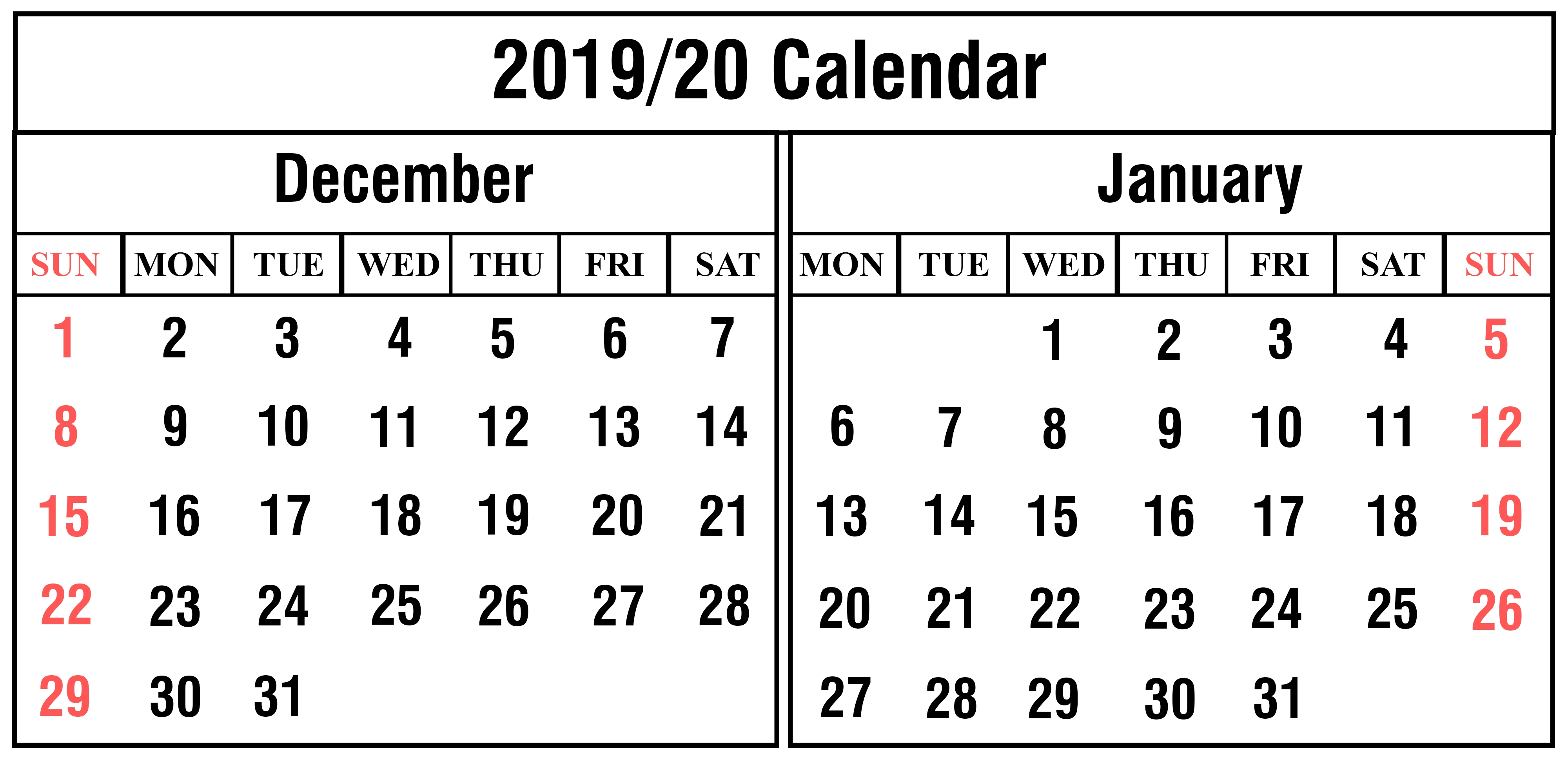 Free December And January 2019-2020 Calendar Printable