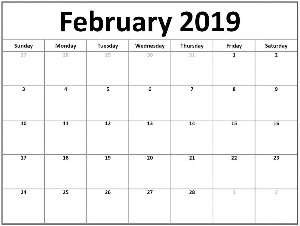 Free Download February 2019 Editable Calendar Free Printable