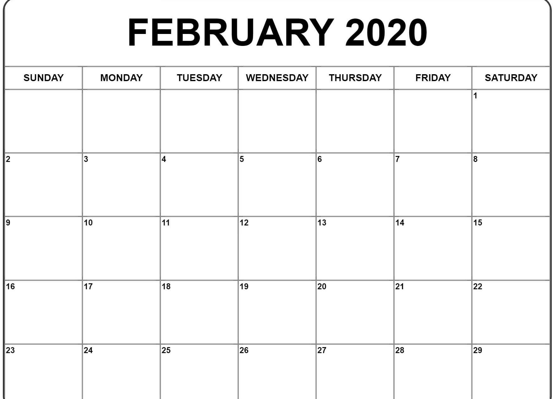 Free Download February 2020 Calendar Printable Pdf Word
