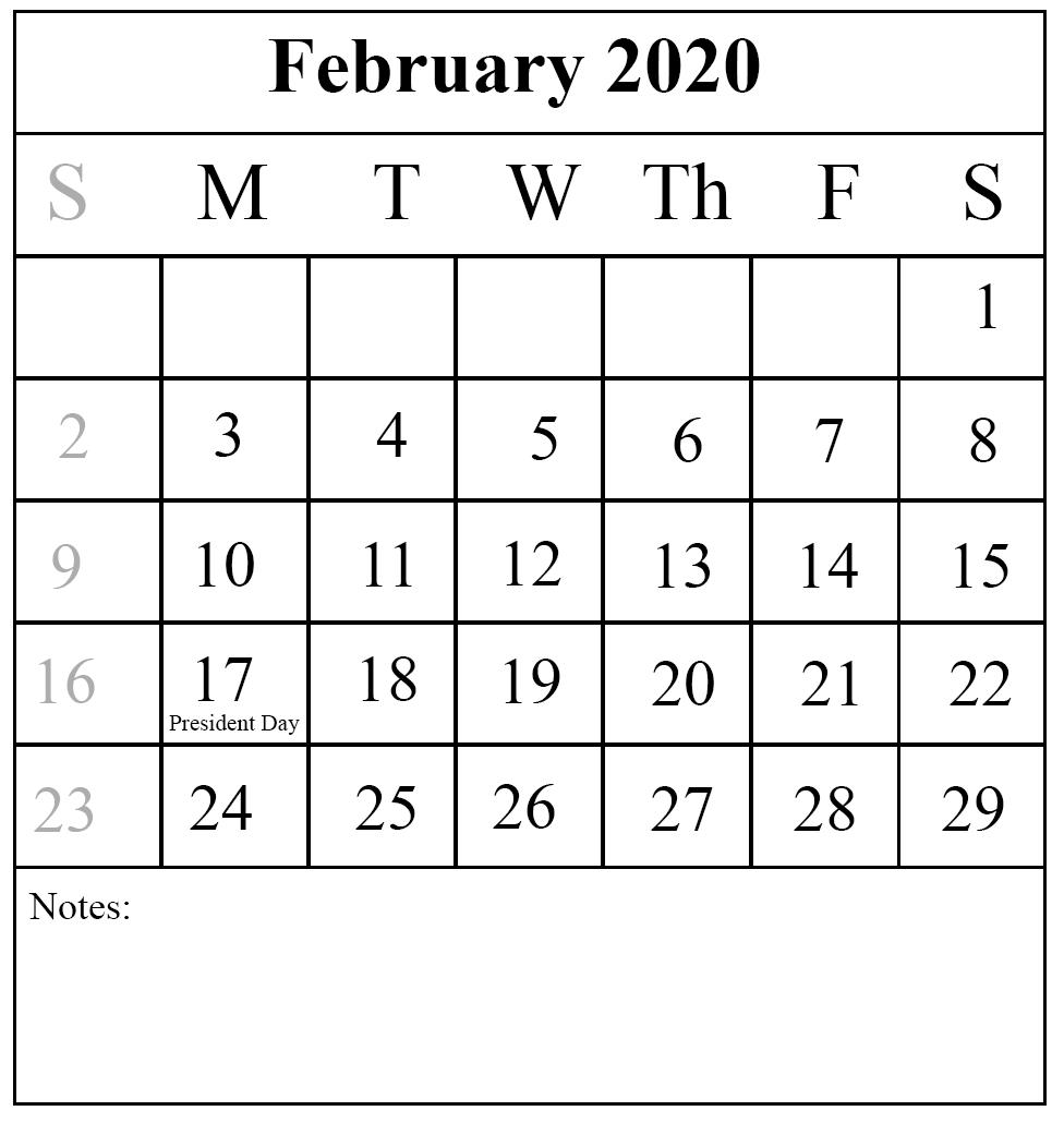 Free Download February 2020 Printable Calendar { Pdf,excel