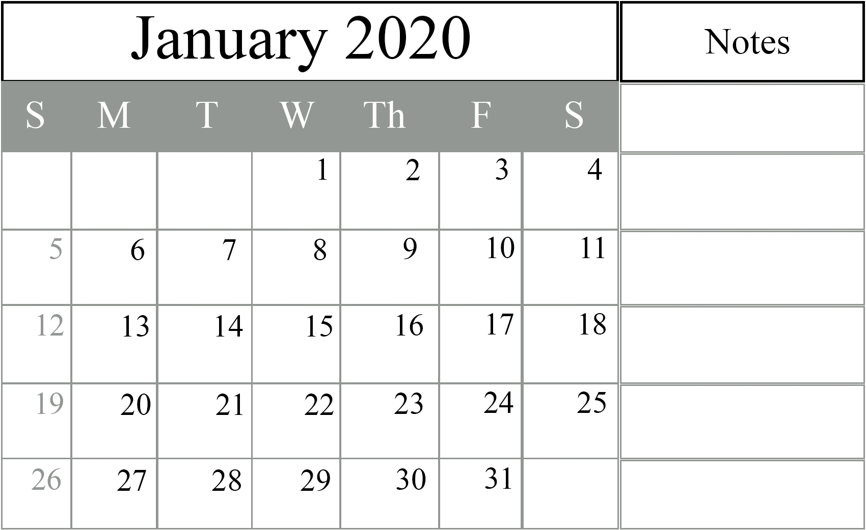 Free Download January 2020 Calendar Templates {Pdf, Excel