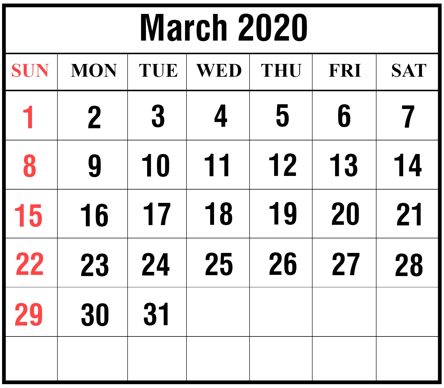 Free Download March 2020 Calendar Printable Templates {Pdf