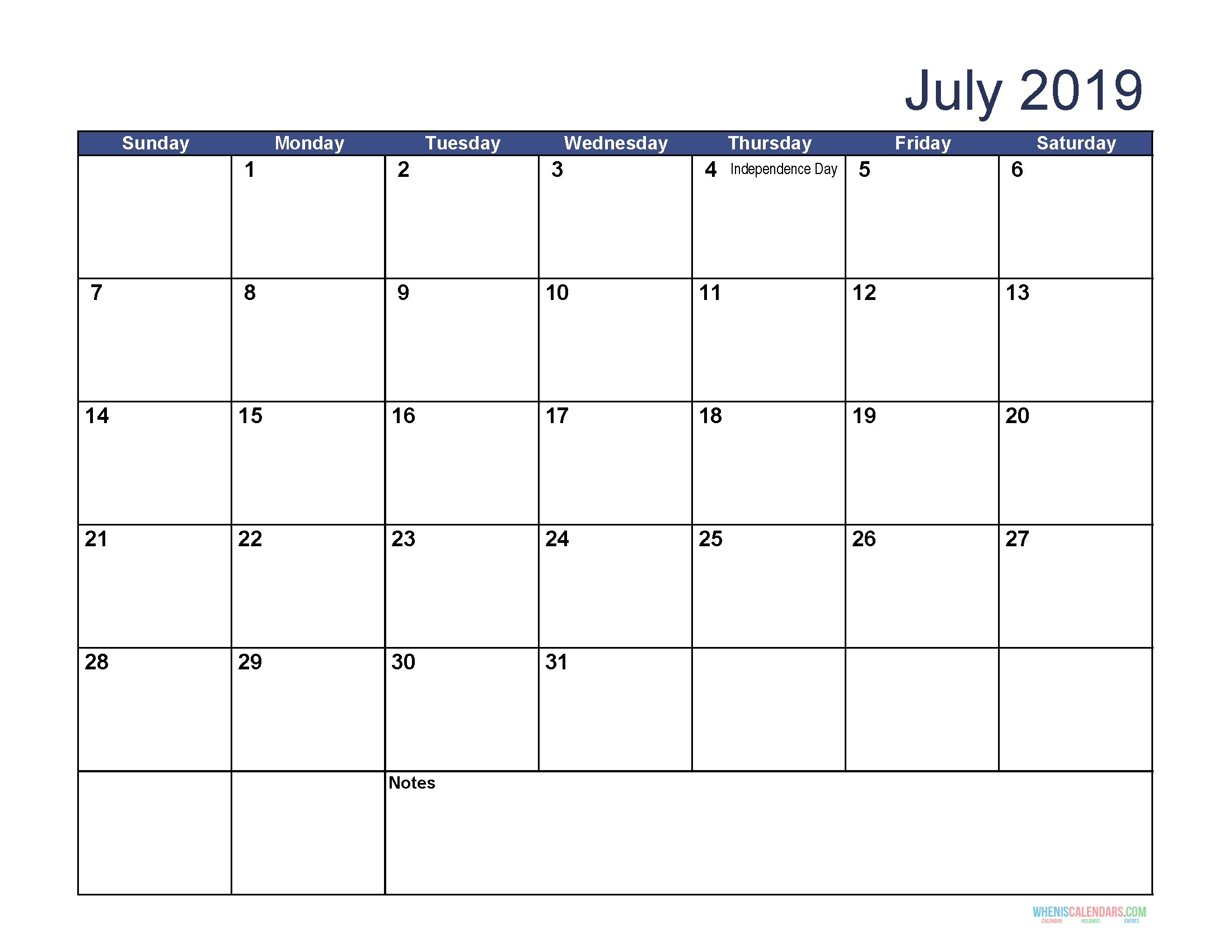 Free Download Printable July 2019 Calendar With Holidays