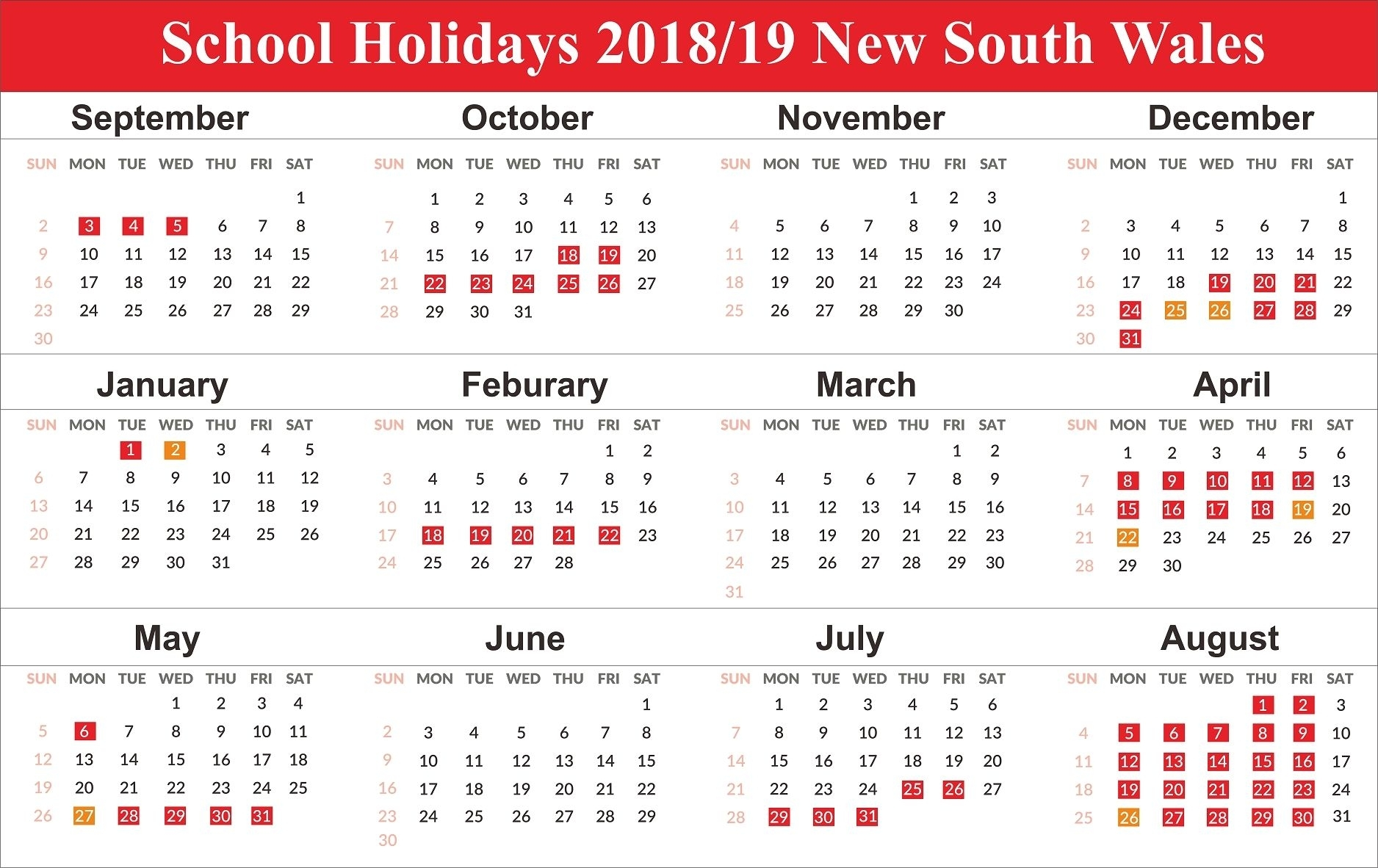 Free Editable School Holidays 2019 Nsw {New South Wales
