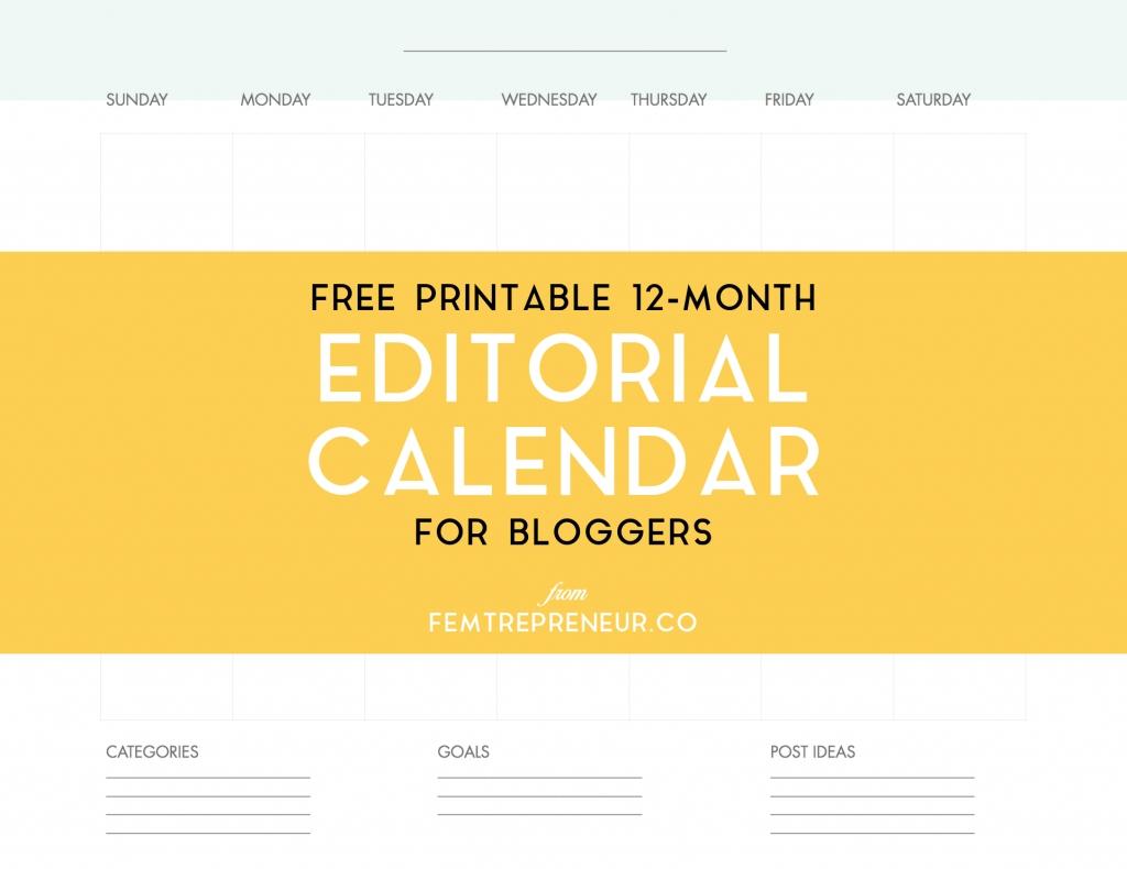 Free Editorial Calendar For Bloggers | The Masdenk Blog Loft