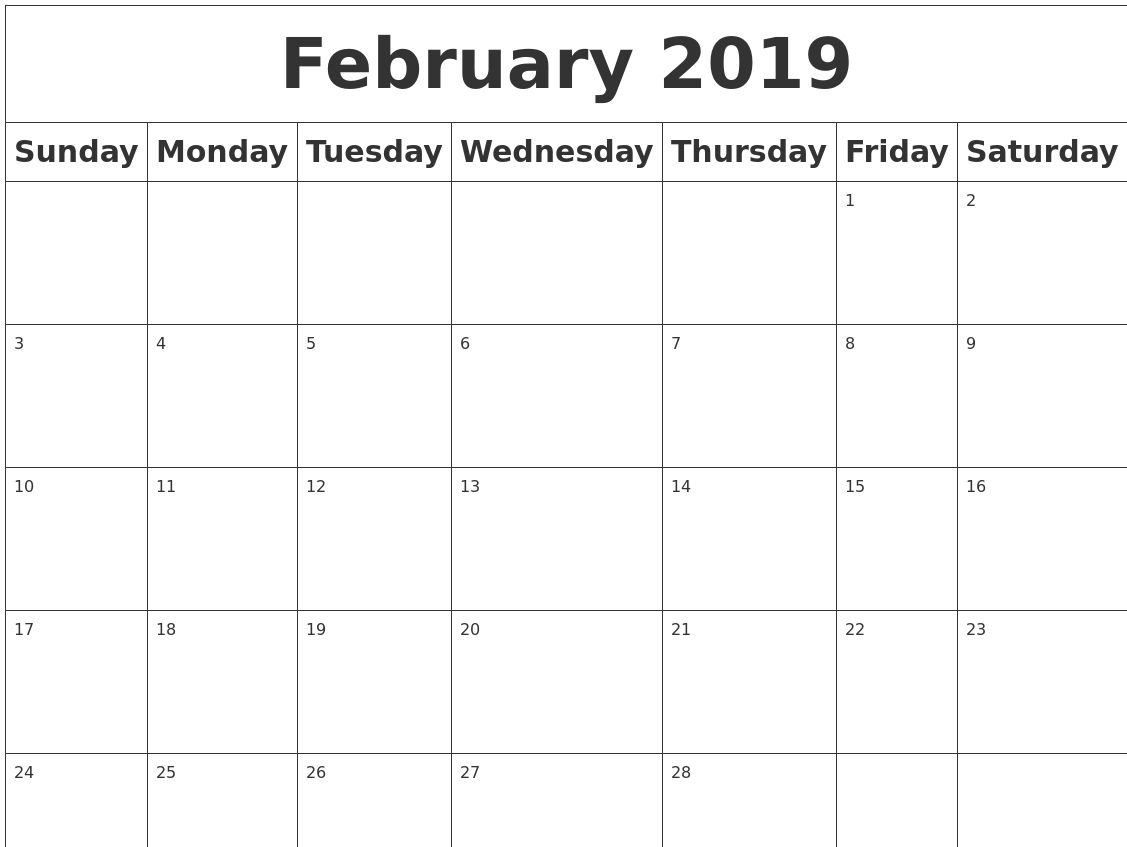 Free February 2019 Calendar Pdf Excel Word Free Calendar And
